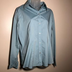 XL NY & COMPANY Blue Button Dress Shirt Top Blouse